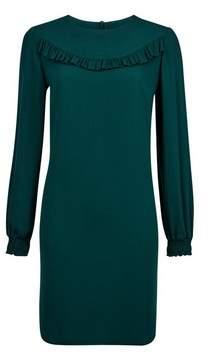 Dorothy Perkins Womens Green Ruffle Long Sleeve Shift Dress, Green