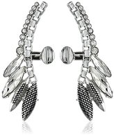 Sam Edelman Crystal and Rhodium Navette Ear Cuffs