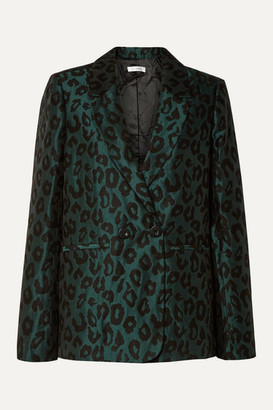 Anine Bing Madeleine Double-breasted Leopard-jacquard Blazer - Emerald