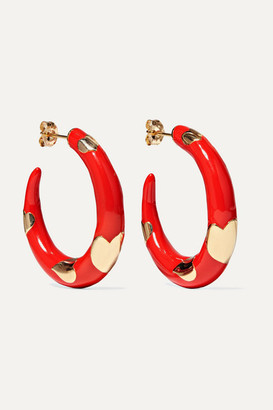 Alison Lou Amour 14-karat Gold And Enamel Hoop Earrings - one size