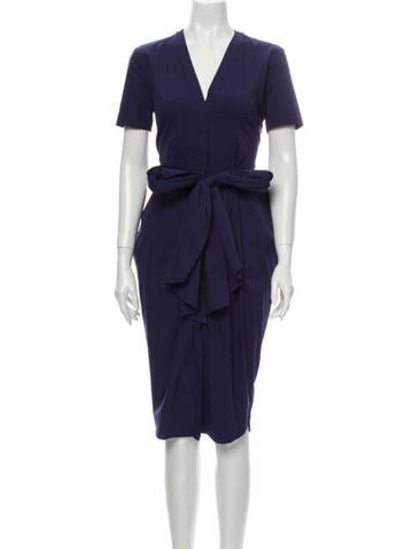 Vionnet V-Neck Midi Length Dress Blue
