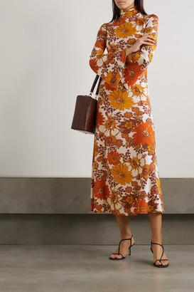 Dodo Bar Or Lena Floral-print Stretch-jersey Turtleneck Midi Dress - Brown