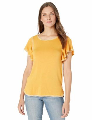 Max Studio Womens Jersey Ruffle SLV top with emb Detail