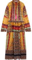 Etro Oversized Tasseled Printed Silk-chiffon Maxi Dress - Brown
