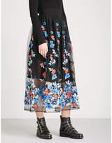Maje Janie embroidered tulle midi skirt