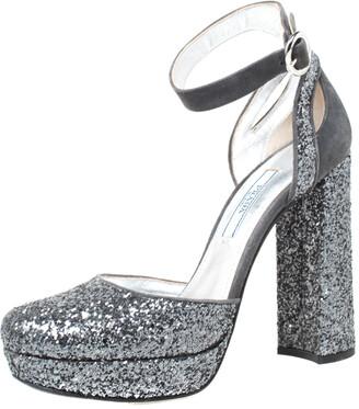 Prada Metallic Grey Glitter And Suede Ankle Strap Platform Sandals Size 36