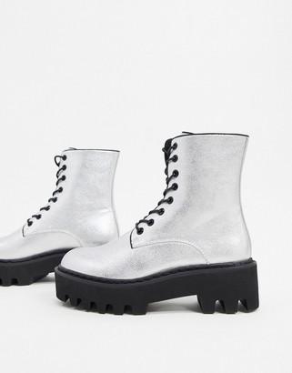 Lamoda chunky flat boots in silver