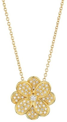 Marco Bicego Petali 18K Yellow Gold & Diamond Pave Small Flower Pendant Necklace