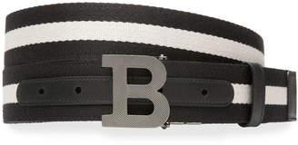 Bally Men's Logo-Buckle Webbing Belt