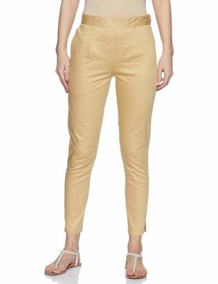 Wild Hazel Cotton Skinny Pant for Women-White Floral X Large Elastic Zip-Hook-Eye Closure