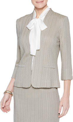 Misook Basketweave Textured 3/4-Sleeve Jacket