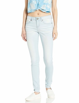 Cover Girl Junior's Cute Blue Mid Rise Slim Fit Stretchy Washed Skinny Jeans