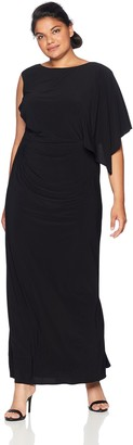 Adrianna Papell Women's Plus Size Long Jersey Dress with Ruched Bodice