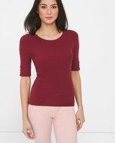 White House Black Market Short Sleeve Ribbed Jewel Neck Sweater