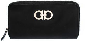 Salvatore Ferragamo Black Leather Double Gancio Zip Around Wallet