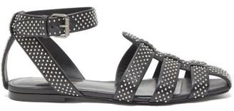 Saint Laurent Oak Studded Flat Leather Sandals - Womens - Black Silver