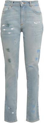 ALEXACHUNG Painted Distressed High-rise Slim-leg Jeans