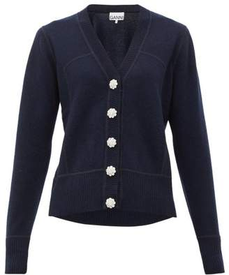 Ganni Crystal-button Cashmere Cardigan - Womens - Navy