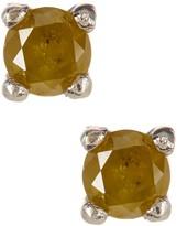 Sterling Silver Yellow Diamond Stud Earrings - 0.35 ctw