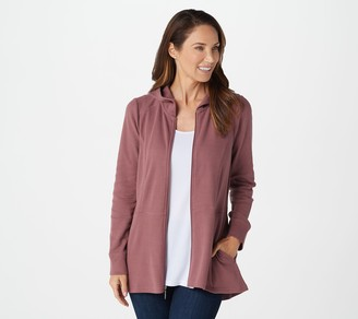 Denim & Co. Active Hooded Waffle Knit Zip-Front Peplum Jacket