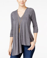Amy Byer Juniors' Asymmetrical-Hem Top with Necklace
