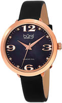 Burgi Womens Black Diamond Accent Strap Watch