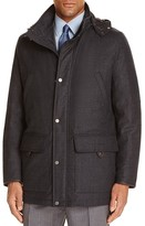 Canali Charcoal Micro Check Hooded Jacket