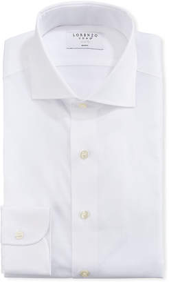 Lorenzo Uomo Men's Textured Solid Cotton Dress Shirt, White