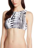Moontide Women's Cybertron Butterfly Bandeau Striped Bikini Top,8