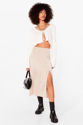 Nasty Gal Womens Slit Satin High Waisted Midi Skirt - Almond - 4