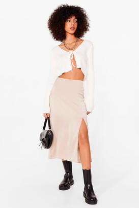 Nasty Gal Womens We Don't Give a Slit Satin Midi Skirt - Almond - 4