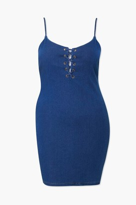 Forever 21 Plus Size Denim Lace-Up Dress
