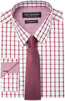 Nick Graham Men's Fitted Windowpane Dress Shirt & Textured Tie Set