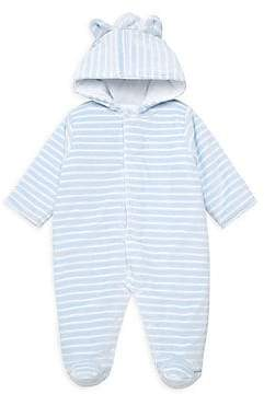 Kissy Kissy Baby Boy's Stripe Velour Hoodied Footie