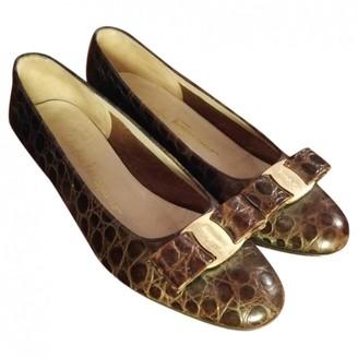 Salvatore Ferragamo Brown Crocodile Flats