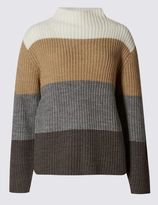 Marks and Spencer Striped Rib Funnel Neck Jumper