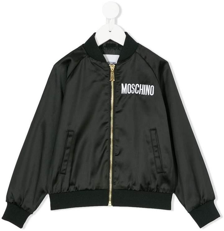 Moschino Kids logo embroidered bomber jacket