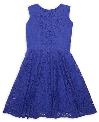 Un Deux Trois Girl's Lace Cap-Sleeve Dress