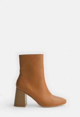 Missguided Brown Wooden Stacked Heel Ankle Boots