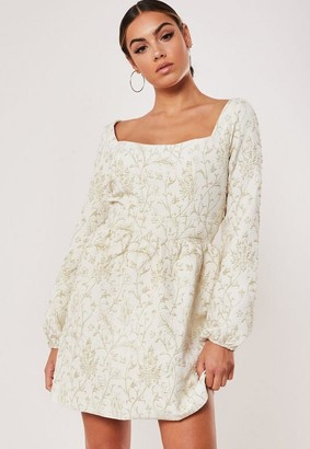 Missguided Cream Puff Sleeve Skater Dress
