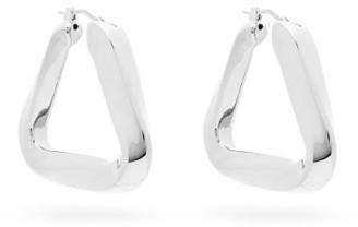 Bottega Veneta Triangle Sterling Silver Hoop Earrings - Womens - Silver