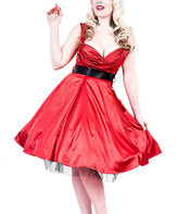 HEARTS & ROSES LONDON Women's Special Occasion Dresses RED - Red & Black Ribbon Fit & Flare Dress - Women
