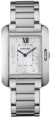 Cartier Tank Anglaise Medium Stainless Steel & Diamond Bracelet Watch