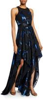 Halston Blossom Burnout Handkerchief Hem Gown