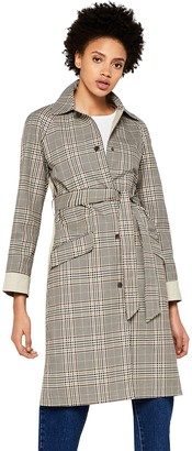 Find. Amazon Brand Women's Check Trench Coat with Solid Back