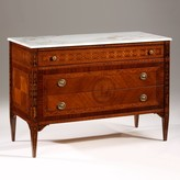 The Well Appointed House Decorative Crafts Inlaid Wood Chest with Marble Top