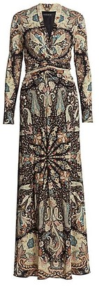 Etro Paisley Ruched Jersey Maxi Dress