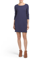 Three Quarter Sleeve Striped Dress