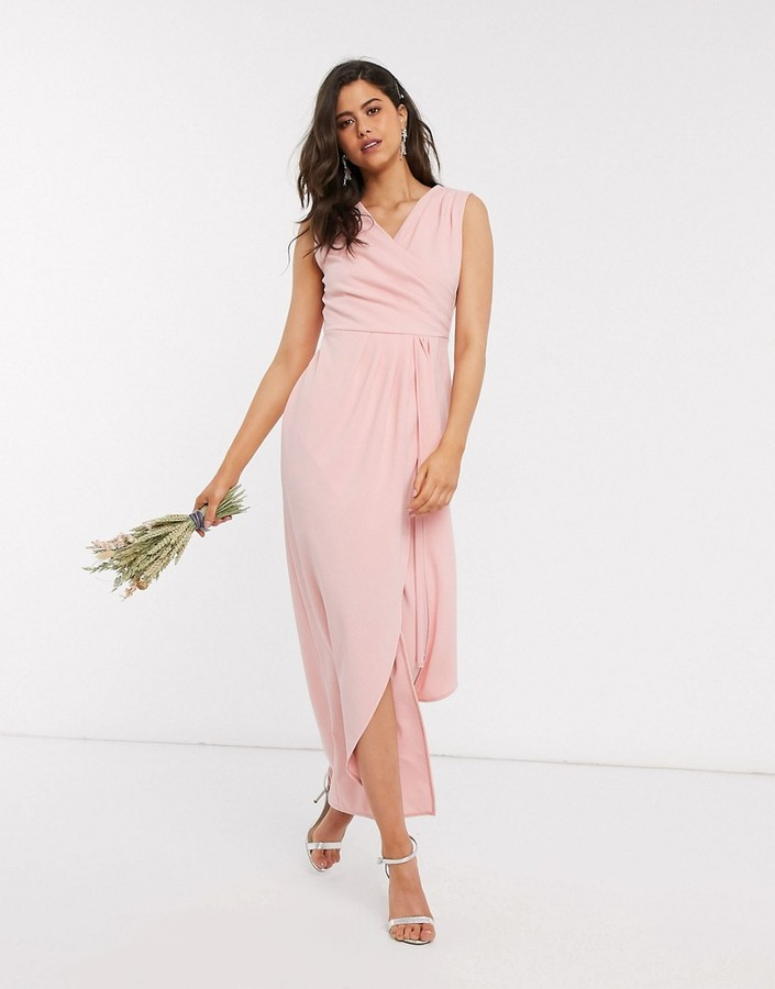 Thumbnail for your product : TFNC Bridesmaid pleated wrap front maxi