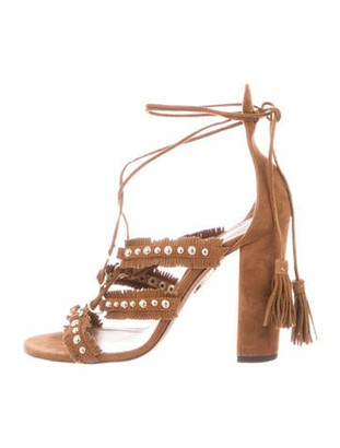 Aquazzura Suede Studded Accents Gladiator Sandals